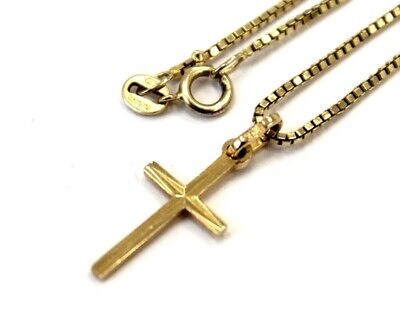 £6.50 • Buy .375 9ct YELLOW GOLD Religious Textured Cross Pendant Necklace, 3.34g - D30