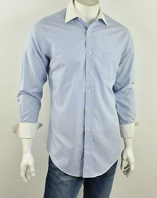 £14.62 • Buy BROOKS BROTHERS Blue & White SLIM FIT Non-Iron Cotton French Cuff Shirt 15.5/ 32