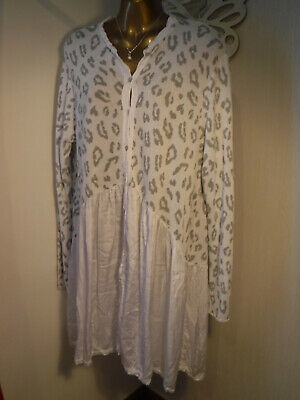£0.99 • Buy Made In Italy Sz 16-18 Grey & Ivory Lagonlook Button Down Dress Knitted Top VGC*
