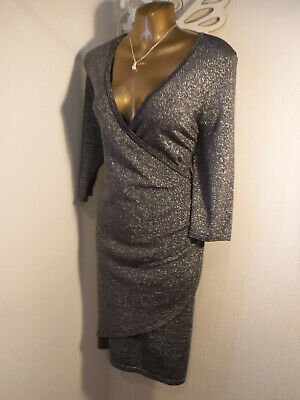 £0.99 • Buy *PHASE EIGHT*Size 14 Black /Silver Lurex Fitted Wrap Style Dress EX CONDITION