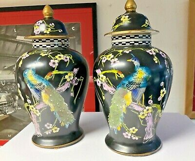 £65 • Buy Vintage T Forester Phoenix Ware 13.5  Tall Peacock/Rising Sun Matching Urn Vase