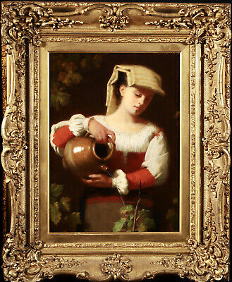 £193.10 • Buy 19th CENTURY LARGE ITALIAN OIL ON CANVAS - GIRL WATERING FLOWERS - SUPERB
