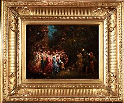 £72 • Buy 19th CENTURY FINE FRENCH OIL ON PANEL - FIGURES - FETE A CHAMPETRE - MONTICELLI