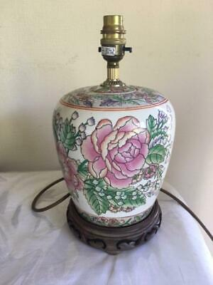 £16.99 • Buy Beautiful Chinese Table Lamp Base With Floral Decoration On Carved Wooden Stand