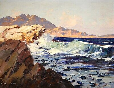 £6 • Buy Gustave Vidal (1895-1966) Signed Large French Oil On Canvas - Waves Breaking