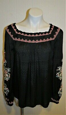 £20.33 • Buy SUNDANCE Boho Blouse Top Shirt Embroidered Black Peasant Floral Womens Size XS-S