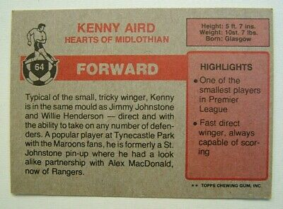 £1.99 • Buy Topps Chewing Gum Inc. Kenny Aird, Hearts.  Card No. 64