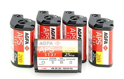 £25 • Buy 5 X APS Film - Agfa Star - 200 ISO - 25 Exposure Expired But New And Unused