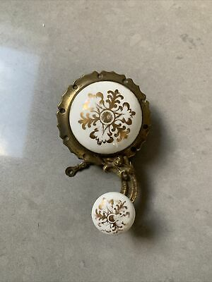 £50 • Buy Antique Brass And Porcelain Servants Bell Pull Lever