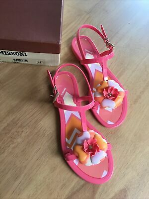 £12 • Buy MISSONI Cute Flower Flipflop Shoes. Size 37. UK 4. Made In Italy. VGC. With Box