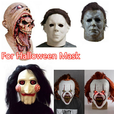 £8.99 • Buy Halloween Latex Mask Horror Full Head  Pennywise IT Michael Myers Face Masks