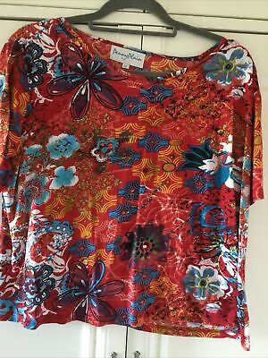 £1.50 • Buy Penny Plain Red Flowers T-shirt Top Size 22