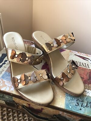 £6.50 • Buy Ladies Mules Size 5 ROBERTO VIANNI NEW Gold Heels Sandals LEATHER Slip On Shoes