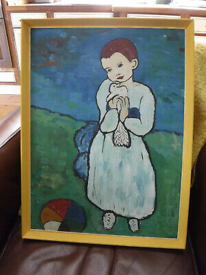 £10 • Buy Loft Find - Child Holding A Dove Oil Painting 21ins X 16ins Painted 1970