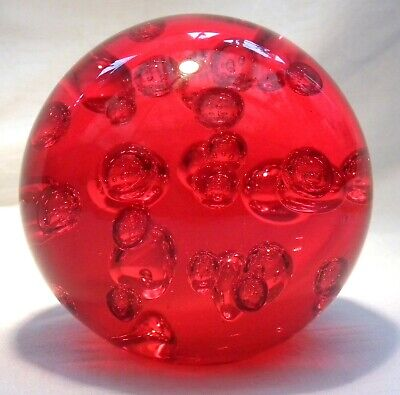 £24.99 • Buy Huge Red Glass Bubble Paperweight