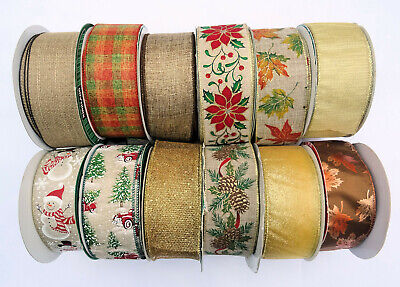 £2.50 • Buy Christmas Wired Edge Ribbon 2.5 In Wide Gold Brown Orange  2m /5m /10 M