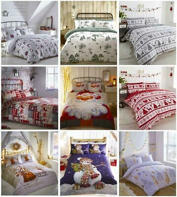 £17.99 • Buy Father Christmas Tree Santa Claus Reindeer Stag Quilt Duvet Cover Bedding Set