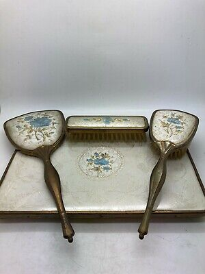 £14.99 • Buy Vintage Floral Embroidered Dressing Table Set X4 - Tray Mirror X2 Brushes