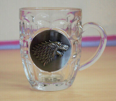 £5.50 • Buy Game Of Thrones Stark House Wolf Crest Glass Beer Stein Mug With HBO Print/logo