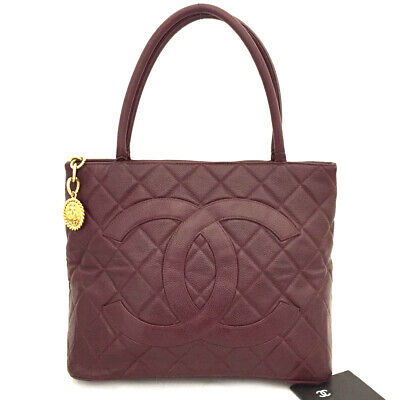 AU425.59 • Buy CHANEL Bordeaux Classic Silver Medallion CC Quilted Caviar Skin Tote Bag/E1163