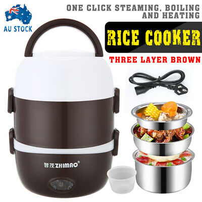 AU29.49 • Buy Electric Portable Lunch Box 3-layer Stainless Steel Rice Cooker Steamer Pot AU
