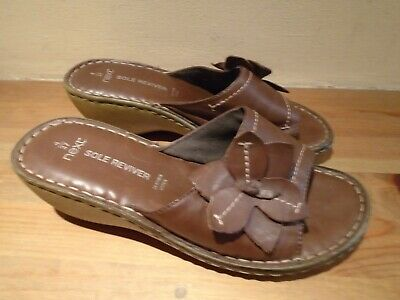 £7.99 • Buy Size 4 Next Brown Leather Wedge Heel Sole Reviver Shoes Sandals