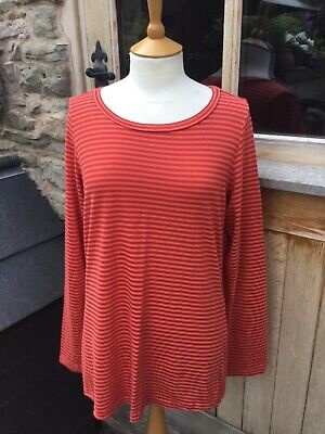 £27 • Buy Cut Loose Long Sleeved T-shirt Top, Size Large, Striped Tangerine, Tencel/cotton
