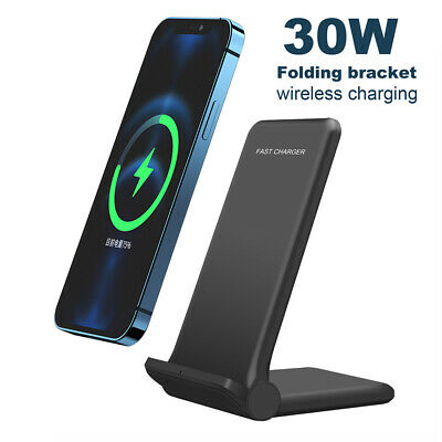 AU24.59 • Buy 30W Qi Fast Wireless Charger Stand Dock Pad For IPhone 13 Pro 12 11 Samsung S21+