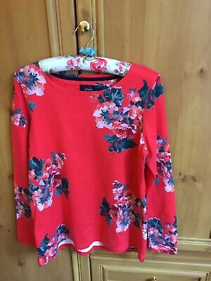 £4.20 • Buy Ladies JOULES  Red Floral  Long Sleeve Harbour Print Cotton  Top Size 16