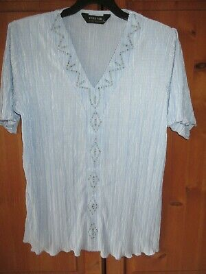 £4.99 • Buy Forever By Michael Gold Pale Blue V Neck Easy Care Short Sleeve Top Sze 14 / 16