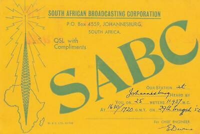 £3.66 • Buy 1952 QSL: SABC - South African Broadcasting Corp., Johannesburg, South Africa