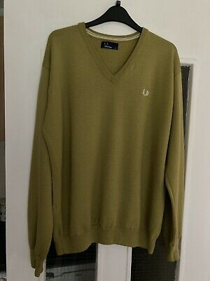 £7.90 • Buy FRED PERRY Mens 100% Wool V Neck Mustard Jumper Sweater Pullover XL Ex Condit