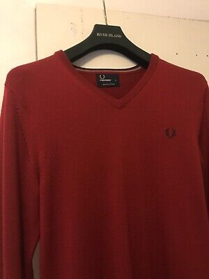 £14.99 • Buy Fred Perry Red Merino Wool V-neck Knit Long Sleeve Pullover Jumper Mens Size S