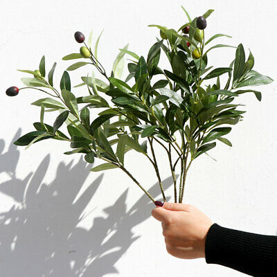£2.78 • Buy Artificial Leaf Olive Tree Branch Fake Green Plant Greenery Home Wedding Decor