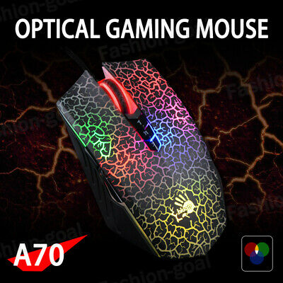 AU64.99 • Buy A4TECH Bloody A70 4000DPI USB Optical Gaming Mouse Colorful Glare Wired Mice AU