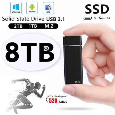 AU51.99 • Buy USB 3.1 External SSD Solid State Drives 4Tb Portable Mobile Hard Drive PC Laptop