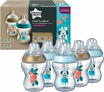 £16.99 • Buy 6 Pack Tommee Tippee 260 Ml Closer To Nature Baby Bottles Dog Or Cat Design