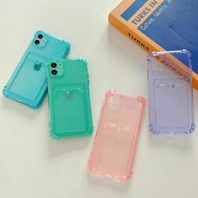 AU6.32 • Buy Clear Soft Gel Case Cover With Card Slot Holder For IPhone 7/8 12 11 Pro Max