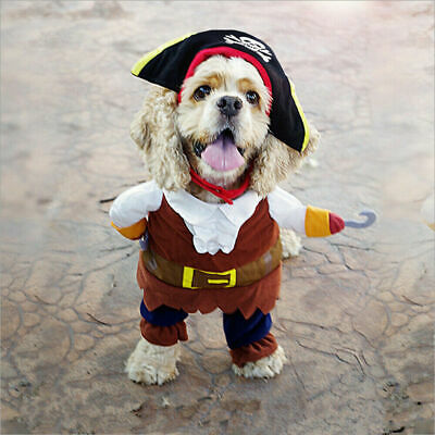 £6.99 • Buy Halloween Pet Dog Cat Pirate Clothes Suite Costume Outfit Caribbean Cosplay UK