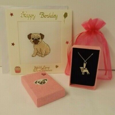 £9.99 • Buy Pug Dog Theme Gift Set -  Pug Necklace In Box & Bag With Happy Birthday Card