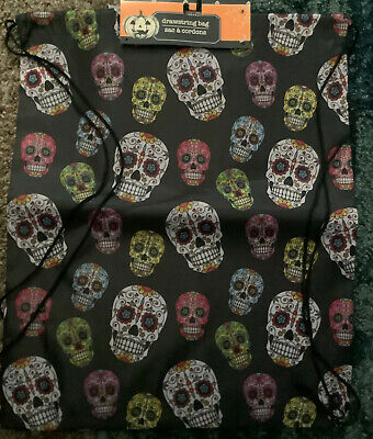 £6.27 • Buy Sugar Skull Drawstring Halloween Bag- Day Of The Dead -  Backpack-Candy Sack….