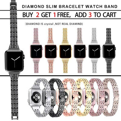 AU14.99 • Buy For Apple Watch Band Series 7 SE 6 5 4 Bling Stainless Steel IWatch Strap Lady