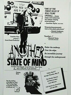 $14.95 • Buy Another State Of Mind Punk Rock Movie/concert Poster, Minor Threat La Premier