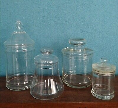 £14.51 • Buy Lot Of 4 Glass Apothecary Jars-Candy Buffet, Kitchen Storage