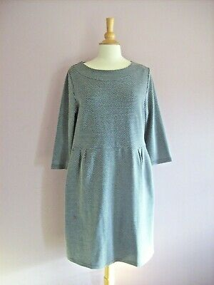 £2 • Buy Joules Size 16 Black + Cream Small Print Stretch Jersey Knee Length Dress