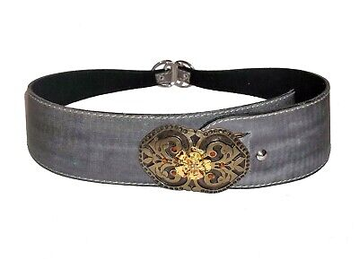 £3.99 • Buy Suede-Leather Belt, Mid Grey Coating, Embossed 2-Colour Metal Buckle Size M-L