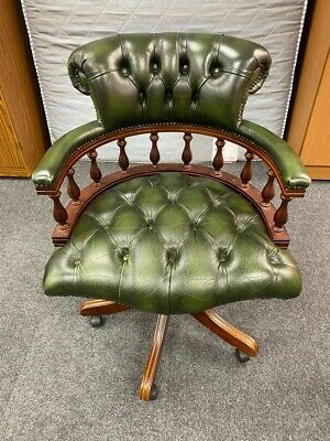 £165.09 • Buy Vintage Green Chesterfield Style Leather Retro Captains Chair VG Con - CIS L26