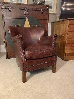 £370 • Buy Timothy Oulton Halo -  Little Professor Brown Leather Armchair Superb Quality