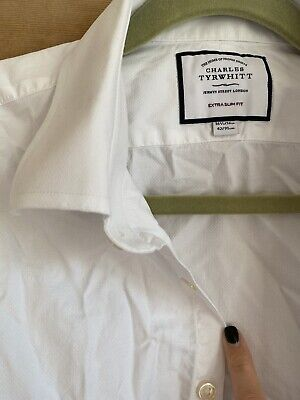 £2.80 • Buy Charles Tyrwhitt White Double Cuff Extra Slim Fit Shirt 16.5 Inches