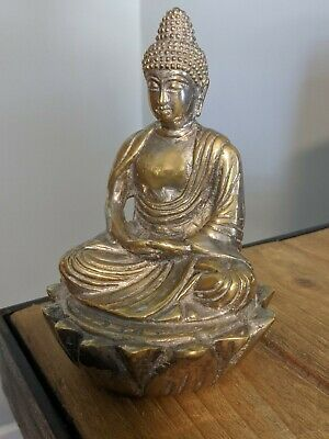 £4.99 • Buy Beautiful Heavy Buddha Figure Silver Plate (worn) On Brass, Indian Or Chinese